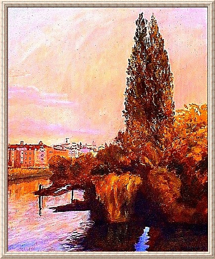 Painting with Prague motive by Odd K. Hauge