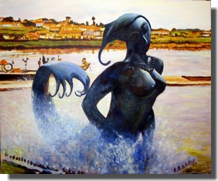 Painting by Odd K. Hauge with tittle: The mermaid in Vila do Conde